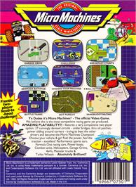 Box back cover for Micro Machines on the Nintendo NES.