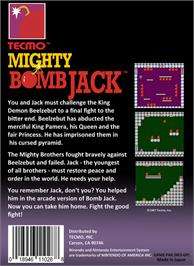 Box back cover for Mighty Bombjack on the Nintendo NES.