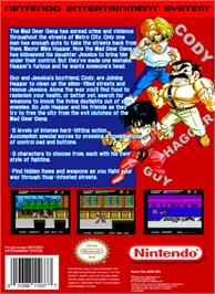 Box back cover for Mighty Final Fight on the Nintendo NES.