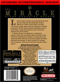 Box back cover for Miracle Piano Teaching System on the Nintendo NES.