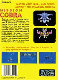 Box back cover for Mission Cobra on the Nintendo NES.