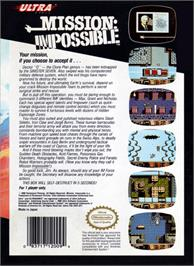 Box back cover for Mission Impossible on the Nintendo NES.