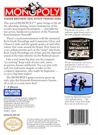 Box back cover for Monopoly on the Nintendo NES.