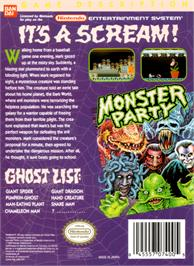 Box back cover for Monster Party on the Nintendo NES.