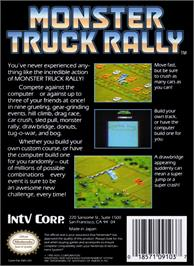 Box back cover for Monster Truck Rally on the Nintendo NES.