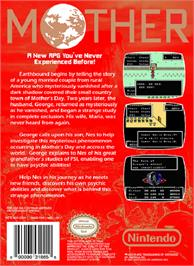 Box back cover for Mother on the Nintendo NES.