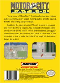 Box back cover for Motor City Patrol on the Nintendo NES.