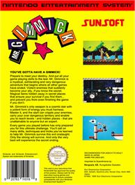 Box back cover for Mr. Gimmick on the Nintendo NES.