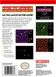 Box back cover for Ms. Pac-Man on the Nintendo NES.