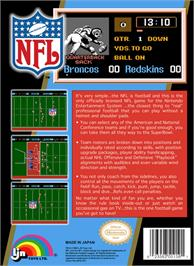 Box back cover for NFL on the Nintendo NES.
