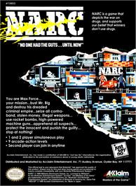 Box back cover for Narc on the Nintendo NES.