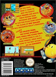 Box back cover for New Zealand Story on the Nintendo NES.