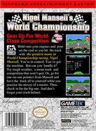 Box back cover for Nigel Mansell's World Championship on the Nintendo NES.