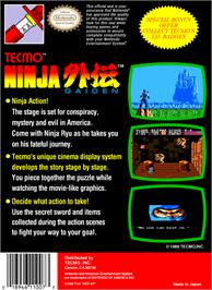 Box back cover for Ninja Gaiden on the Nintendo NES.