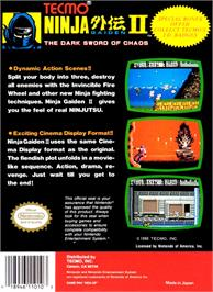 Box back cover for Ninja Gaiden II: The Dark Sword of Chaos on the Nintendo NES.