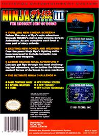 Box back cover for Ninja Gaiden III: The Ancient Ship of Doom on the Nintendo NES.