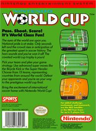 Box back cover for Nintendo World Cup on the Nintendo NES.