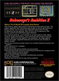 Box back cover for Nobunaga's Ambition 2 on the Nintendo NES.