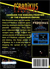 Box back cover for P'radikus Conflict on the Nintendo NES.