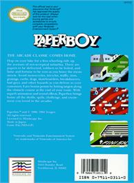 Box back cover for Paperboy on the Nintendo NES.