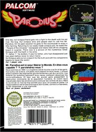 Box back cover for Parodius on the Nintendo NES.