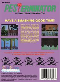 Box back cover for Pesterminator: The Western Exterminator on the Nintendo NES.