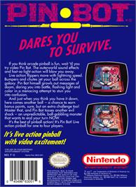 Box back cover for PinBot on the Nintendo NES.