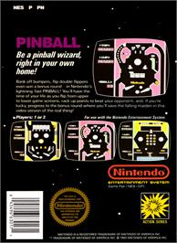 Box back cover for Pinball on the Nintendo NES.