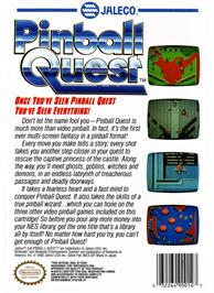 Box back cover for Pinball Quest on the Nintendo NES.