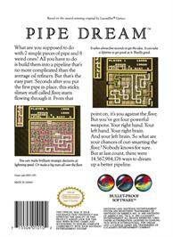 Box back cover for Pipe Dream on the Nintendo NES.