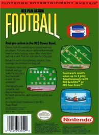 Box back cover for Play Action Football on the Nintendo NES.