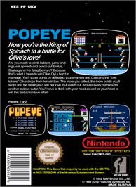 Box back cover for Popeye on the Nintendo NES.