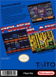 Box back cover for Power Blade on the Nintendo NES.