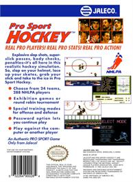Box back cover for Pro Sport Hockey on the Nintendo NES.