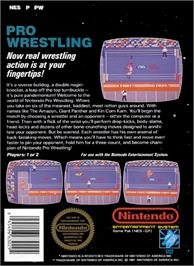 Box back cover for Pro Wrestling on the Nintendo NES.