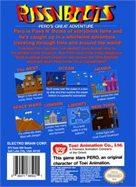Box back cover for Puss N Boots: Pero's Great Adventure on the Nintendo NES.