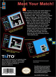 Box back cover for Puzznic on the Nintendo NES.