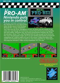 Box back cover for R.C. Pro-Am on the Nintendo NES.