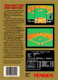 Box back cover for RBI Baseball 3 on the Nintendo NES.