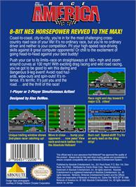 Box back cover for Race America on the Nintendo NES.