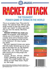 Box back cover for Racket Attack on the Nintendo NES.