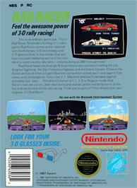 Box back cover for Rad Racer on the Nintendo NES.