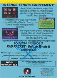 Box back cover for Rad Racket: Deluxe Tennis 2 on the Nintendo NES.