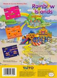 Box back cover for Rainbow Islands on the Nintendo NES.