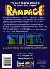 Box back cover for Rampage on the Nintendo NES.
