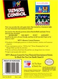 Box back cover for Remote Control on the Nintendo NES.