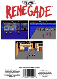 Box back cover for Renegade on the Nintendo NES.