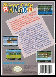 Box back cover for River City Ransom on the Nintendo NES.