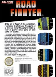 Box back cover for Road Fighter on the Nintendo NES.