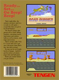 Box back cover for Road Runner on the Nintendo NES.